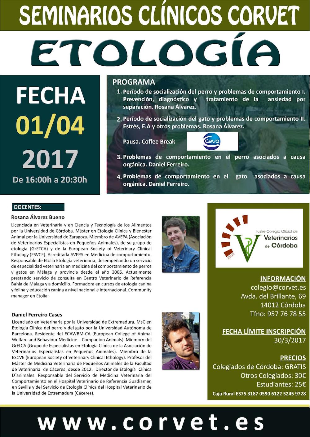 Cartel seminario etología córdoba